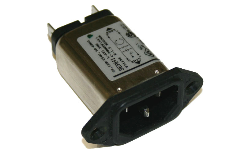 AC line filter/cord receptacle