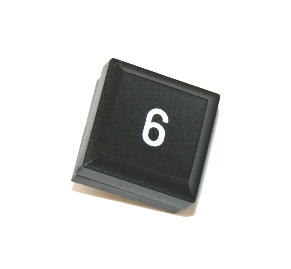 Panel switch, black, with numeral '6'